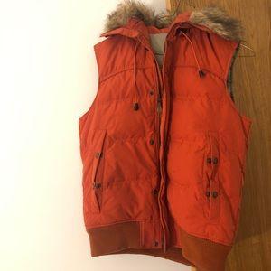 Uniqlo Womens Down Puffer Vest Size S Orange